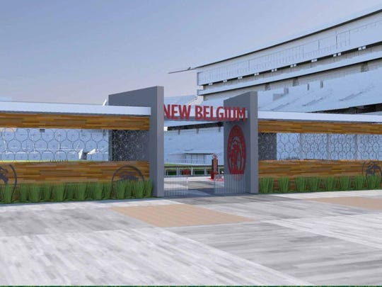 An artist's rendering of the New Belgium Porch hospitality area in the north end zone of CSU's new on-campus stadium.
