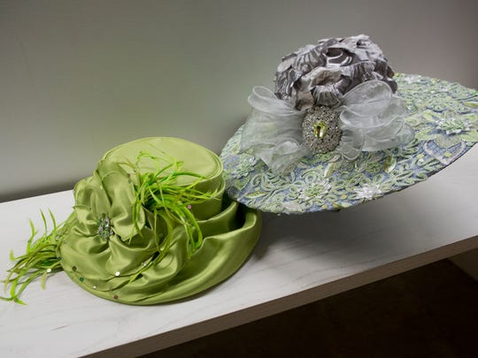 Two of Mary Beth Boone's Derby hats. March 2, 2017.