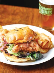 Climbing Bines IPA-battered chicken sandwich with perfect potato chips.