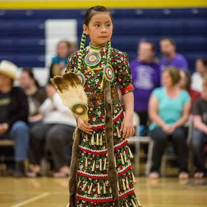 Pheonix Sky, 7, of the Aamjiwnaang First Nation, participates