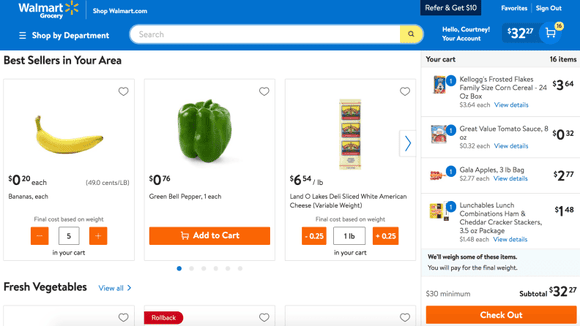 The homepage of Walmart's grocery page, including the items currently in cart.