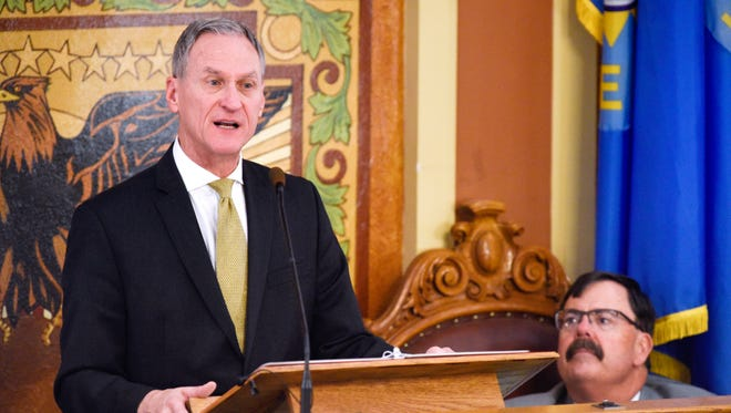 South Dakota governor Dennis Daugaard gives the 2018 State of the State address on Jan. 9, 2018 in Pierre, S.D.