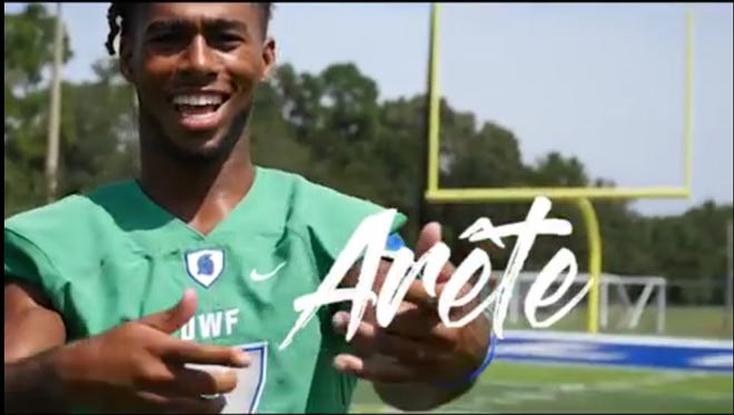 """UWF wide receiver Antoine Griffin is the star of the catchy """"Arete"""" rap video."""