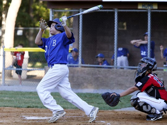 Dave Yorke (30) of Brick hits a double against Holbrook