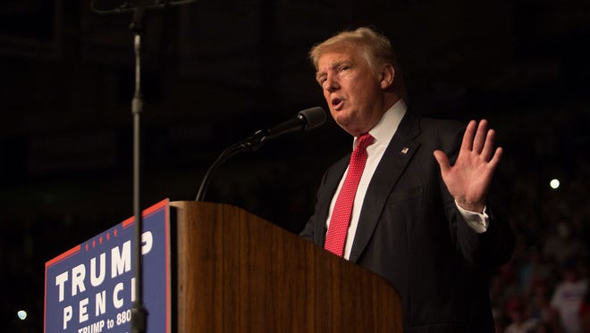 Donald Trump speaks at Germain Arena on Monday