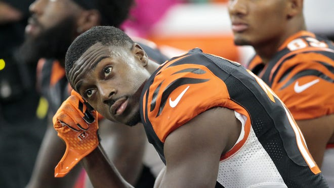 Cincinnati Bengals wide receiver A.J. Green (18) catches his head during the 28-14 loss to the Dallas Cowboys,, Sunday, Oct. 9, 2016, at AT&T Stadium in Arlington, Texas.