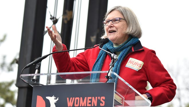 Sister Simone Campbell speaks onstage at the Women's March on Washington on January 21, 2017 in Washington, DC.