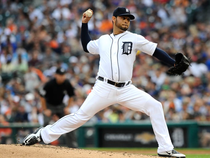 Tigers starting pitcher Anibal Sanchez (19) pitches