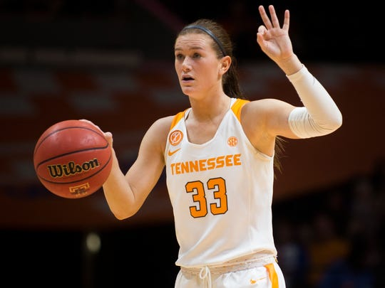 Tennessee's Alexa Middleton (33) gestures to her teammates