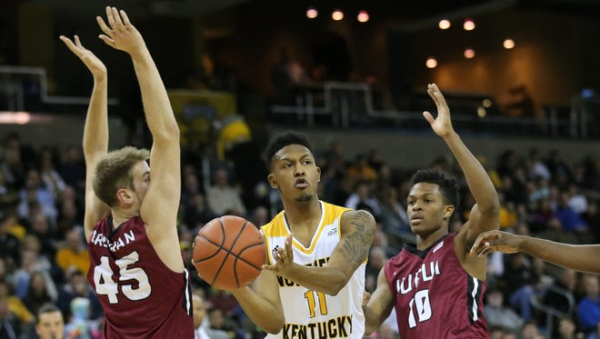 Northern Kentucky Norse guard Mason Faulkner (11) passes the ball out of the paint in the first half during the college basketball game between the IUPUI Jaguars and the Northern Kentucky Norse, Thursday, Dec. 28, 2017, at BB&T Arena in Highland Heights, Ky.