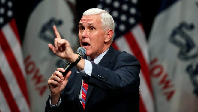 Republican vice presidential candidate Indiana Gov. Mike Pence speaks Oct. 11, 2016, during a campaign rally in Newton, Iowa.