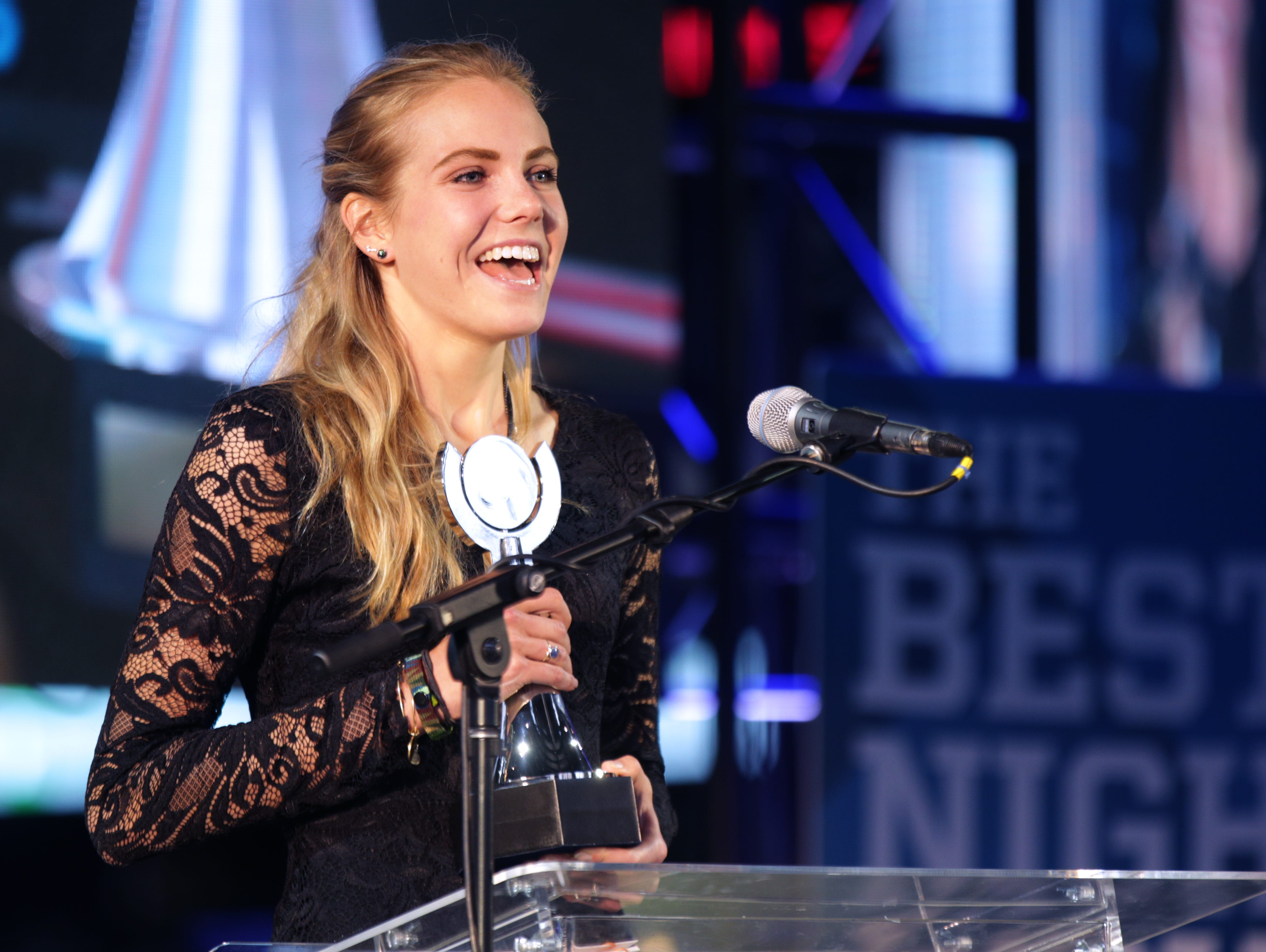 FILE -- Alia Martin, of Brebeuf Jesuit High School. IndyStar held the Indiana Sports Awards, Thursday, April 28, 2016 at Lucas Oil Stadium where they honored the outstanding accomplishments of 200+ high school athletes in 28 sports.