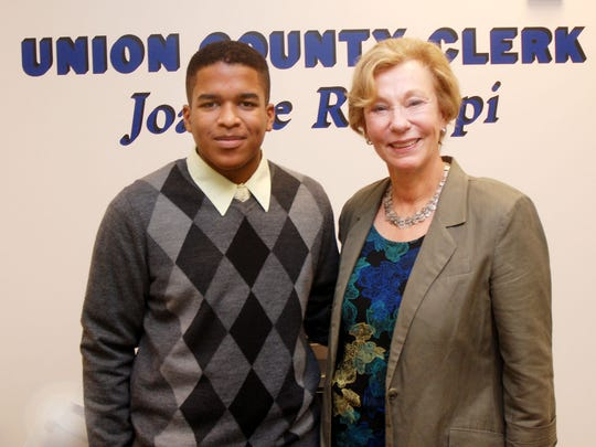 Union County Clerk Joanne Rajoppi is pleased to congratulate Dean Burrell of Union Township, a sophomore at the Union County Academy for Information Technology, for successfully earning more than 250 hours of credit toward a Future Business Leaders of America Community Service Achievement Award as an intern in her office.