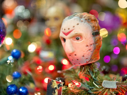 Horror Christmas decor from The Morbid Goat in Batavia was featured at the 2018 HorrorHound weekend.