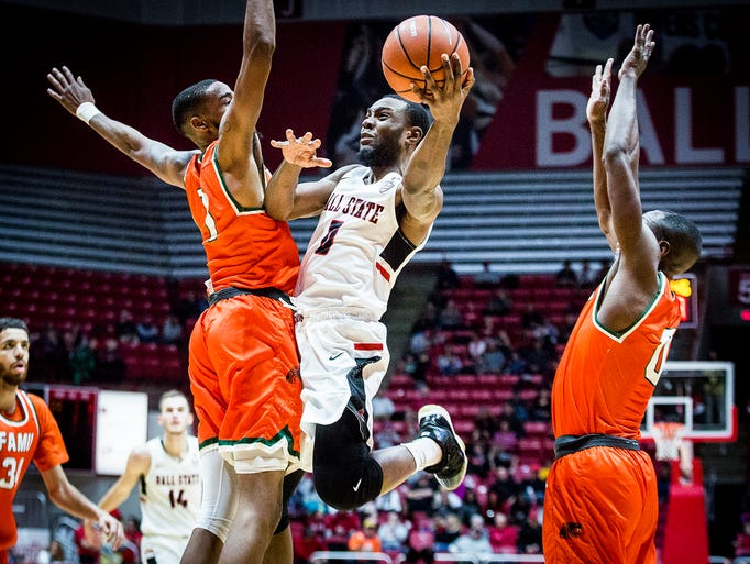 Ball State's Francis Kiapway goes up for a shot against