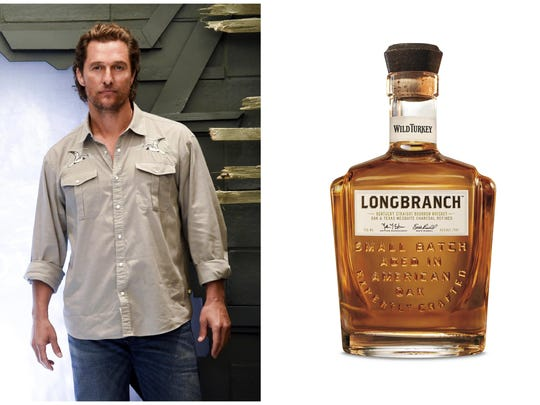 "This combination photo shows actor Matthew McConaughey at the cast photo call for the film ""The Dark Tower"" in New York on July 30, 2017, left, and a bottle of his Longbranch whiskey."