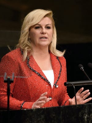 President of Croatia Kolinda Grabar-Kitarovic addresses the 70th session of the United Nations General Assembly Sept. 30, 2015 at the United Nations in New York.