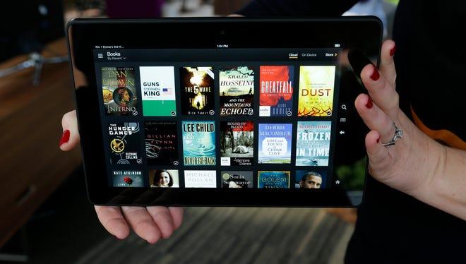 An Amazon Kindle HDX tablet computer.