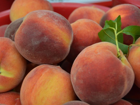 Fresh peaches from Fifer Orchards at the Rehoboth Beach Farmers Market.