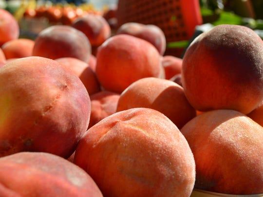 Fresh peaches at the Milton Farmers Market Peach Festival.