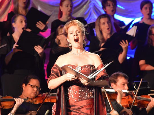 """Gulfshore Opera founder Steffanie Pearce performs at the company's debut concert, """"Viva Verdi,"""" in November at Fort Myers' Harborside Event Center."""