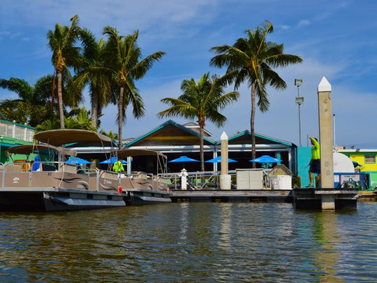 The Parrot Key has a dock where boaters can easily access the waterside restaurant.