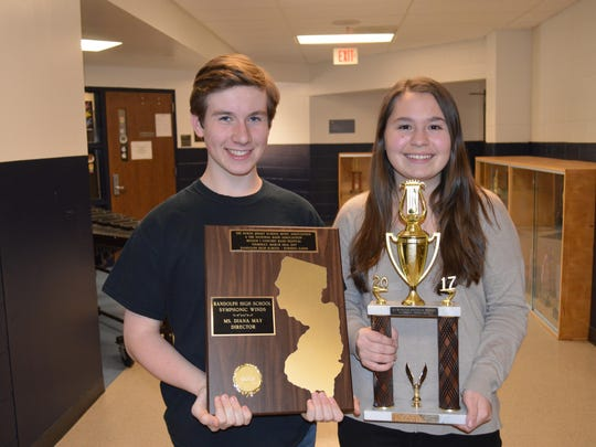 Patrick McNamara and Victoria Rama were among the Randolph High School students who were honored for their achievements at the Region 1 Concert Band Festival hosted by Randolph High School last month.