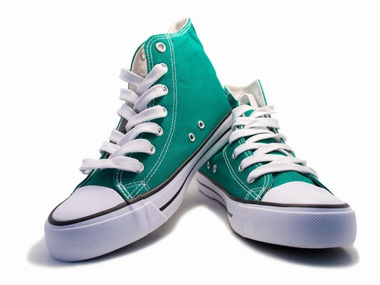 pair of green sneakers