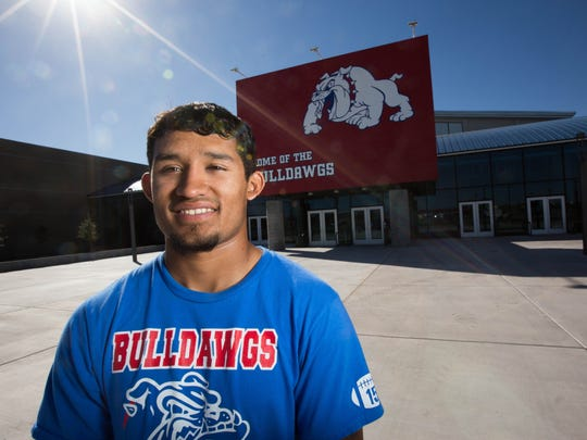 Las Cruces High football player and wrestler Brandon Baeza is the 2018 Sun-News Male Athlete of the Year.