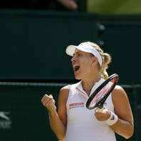 Germany's Angelique Kerber celebrates defeating Latvia's Jelena Ostapenko during their women's singles semifinals match at the Wimbledon Tennis Championships, in London, Thursday July 12, 2018.(AP Photo/Tim Ireland)