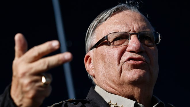 In this Jan. 9, 2013, file photo, Maricopa County Sheriff Joe Arpaio speaks with the media in Phoenix. Arpaio testified Thursday, April 23, 2015, in contempt-of-court proceedings. He and top aides are facing allegations of defying a judge's orders stemming from the racial discrimination suit.
