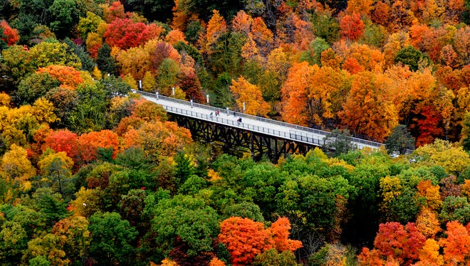 This 2010 photograph shows a portion of the Walkway Over the Hudson in Highland surrounded by trees displaying a range of dazzling autumn colors.