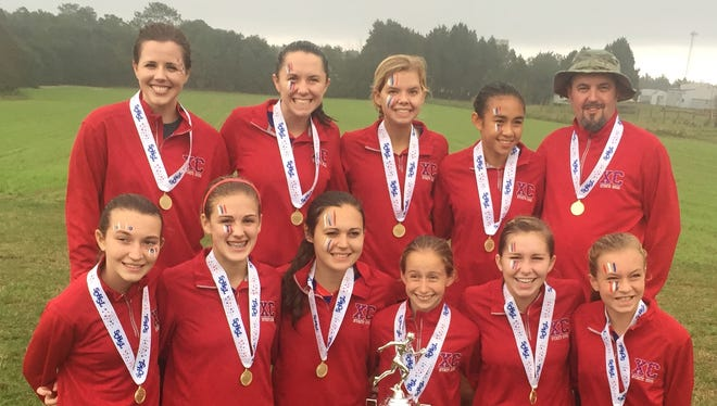 Riverside's girls cross country team won the Class AAAA championship for the third year in a row Saturday at Sandhills Research Center in Columbia.