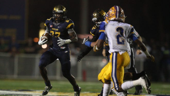 Carlin Fils-aime and Naples High will travel to face Miami Central Friday in the Class 6A semifinal at Traz Powell Stadium.