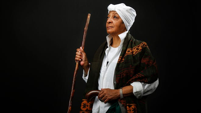 "Patricia Humphries Fann as ""The Ghost of Harriet Tubman,"" pictured, Thursday, April 21, 2016, at The Cincinnati Enquirer studio."