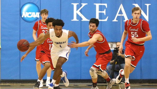 Sayreville's Xavier Townes drives against Hunterdon Central on Friday at Kean University.