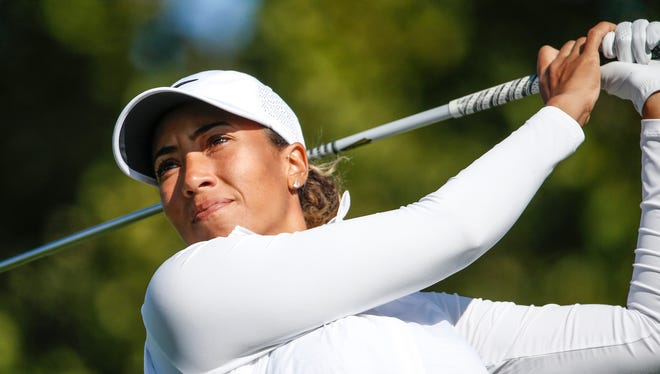 Cheyenne Woods tees off on the fifth hole during the Indy Women in Tech Pro-Am at Brickyard Crossing Golf Course on Wednesday, Sept. 6, 2017. Woods is the niece of Tiger Woods.