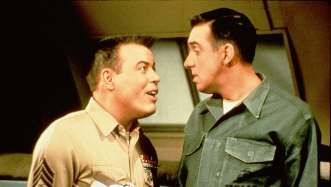 """Frank Sutton (left) as Sgt. Vincent Carter lectures Jim Nabors as Pvt. Gomer Pyle in a scene from """"Gomer Pyle, U.S.M.C.,"""" the popular '60s-era TV sitcom."""