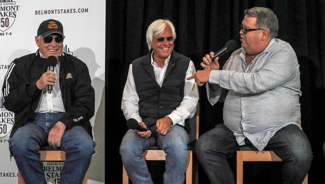 Trainers D. Wayne Lukas, Bob Baffert and Dale Romans joke on stage after the Belmont Draw at Citi Field.June 5, 2018