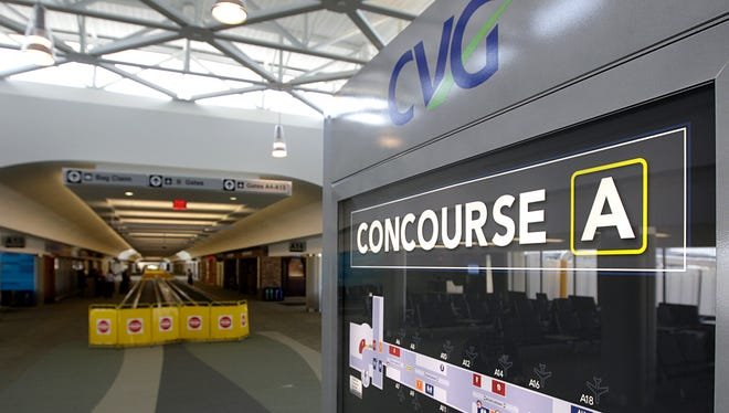 A map in Concourse A of Terminal 3 at the Cincinnati/Northern Kentucky International Airport . The concourse is received a major renovation in 2012.