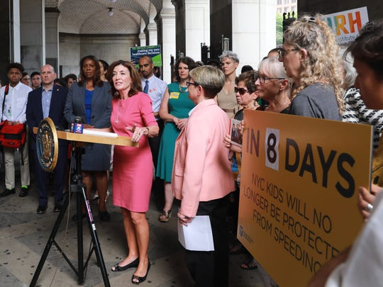 Lt. Gov. Kathy Hochul speaks Tuesday, along with state