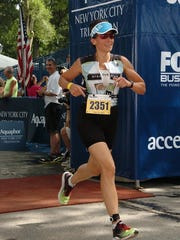 Christine Frietchen of Brooklyn is shown here running