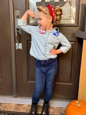 Stevie Kate Blankinchip, 5, poses as Rosie the Riveter for Halloween. Stevie is the grandaughter of Mary and Bret Gill of Fort Smith.