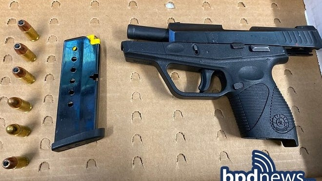 The Boston Police Youth Violence Strike Force, in coordination with detectives assigned to the Taunton Police Department Street Crimes Unit, said it recovered two loaded firearms near 819 County St. in Taunton on Saturday, Aug. 8, 2020.