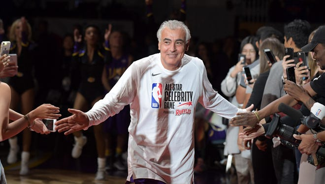 Milwaukee Bucks co-owner Marc Lasry is introduced during the NBA All-Star Celebrity Game.