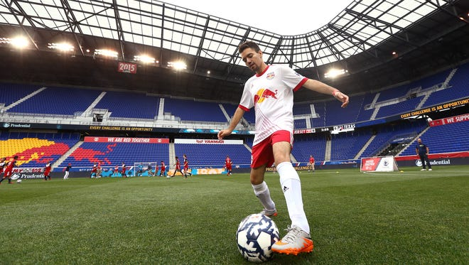 Christian Muniz of Linden warns up for the Red Bulls during the Special Olympics Unified soccer match vs. FC Dallas at the Red Bull Arena. June 23, 2018. Harrison, NJ