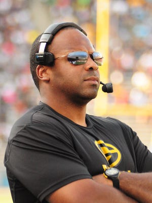 Grambling coach Broderick Fobbs was emotional after the Tigers' 35-34 win over Alcorn State.