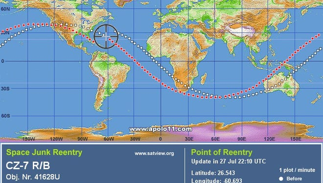 A Satview.com image maps the trajectory of the reentry of space junk known as CZ-7 R/B.