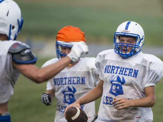 Northern Lebanon's Dawson Else runs a drill as Northern