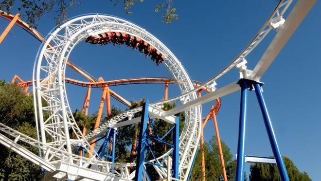 Six Flags Magic Mountain will soon have 20 roller coasters. This one is the New Revolution.